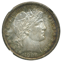 1908-D Barber Half Dollar Graded MS65 by NGC